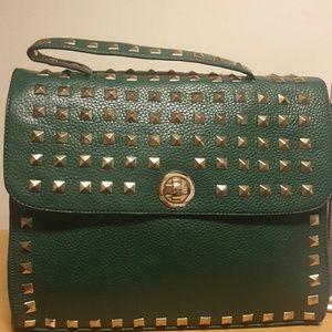 Green Studded Shoe Dazzle Handbag (New)